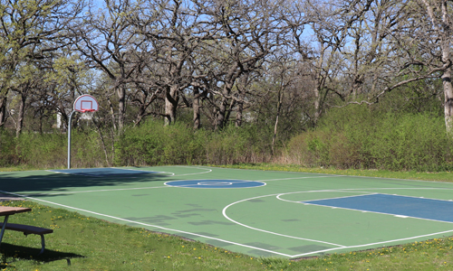 basketball court at Leo Leathers