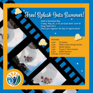 Splash Into Summer text with water slide image