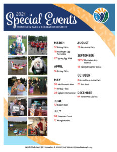 Listing of special events for 2021